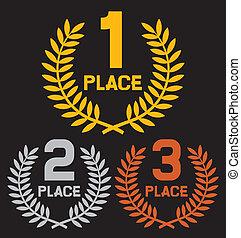 endroit, deuxième endroit, troisième, premier
