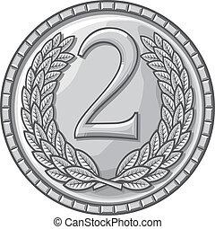 endroit, seconde, médaille