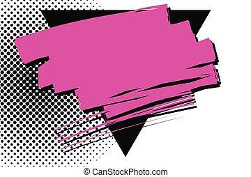 enduit, triangle noir, pointillé, solide, égratignure, sur, chevaucher, marque, arrière-plan., trigone., contre, surface, cramoisi, dessus, magenta, dépassement, brush., taches