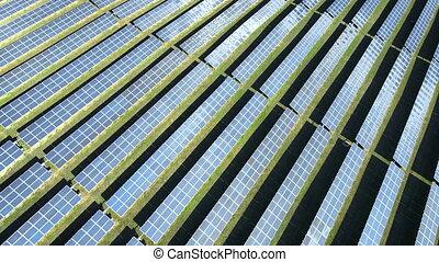 energy., ferme, day., produire, panneaux solaires, vue, propre, ensoleillé, aérien, puissance
