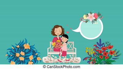 enfant, animation, en mouvement, fleurs, espace, maman, sur, parole, copie, mouvement, bulle, hypnotique