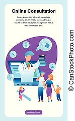 enfant, communiquer, pédiatre, famille, malade