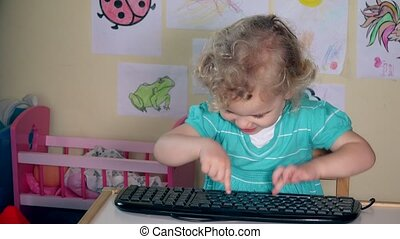 enfant, dactylographie, clavier ordinateur, girl, mauvais