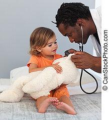 enfant, docteur hôpital