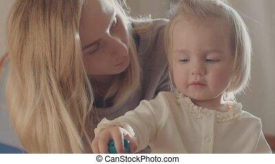 enfant, elle, jouets, ensemble, mère, girl, jouer