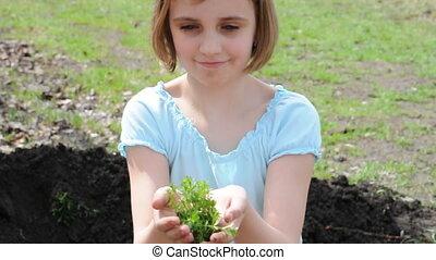 enfant, extérieur, plante