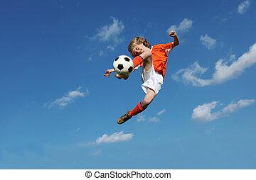 enfant, football, ou, football, jouer