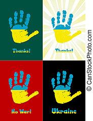enfant, handprint, vecteur, drapeau, peinture, ukraine