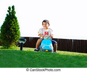 enfant, herbe