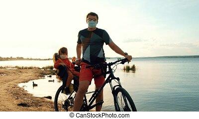 enfant, homme, masques, protecteur, vélo