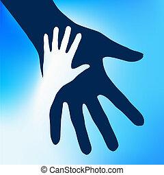 enfant, mains, portion