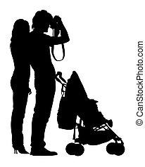 enfant, marche famille, une