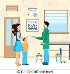 enfant, pédiatre, illustration, docteur