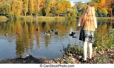 enfant, parc, automne