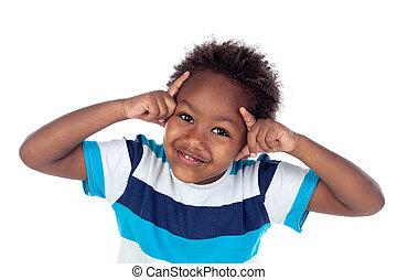 enfant, pensée, afroamerican, adorable