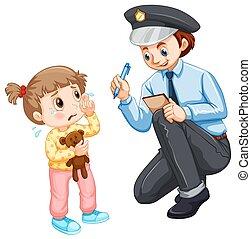 enfant, perdu, enregistrement, police