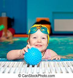 enfant, piscine, natation