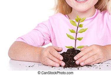 enfant, plante