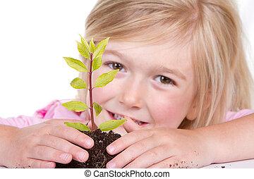 enfant, plante, sourire