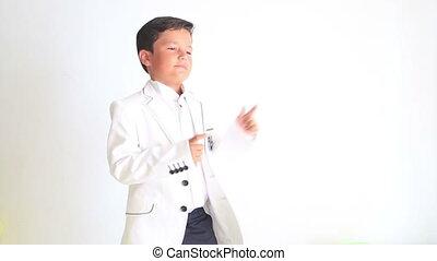 enfant, pointage, danse