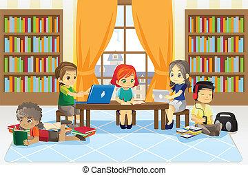 enfants, bibliothèque