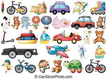 enfants, blanc, collection, jouets