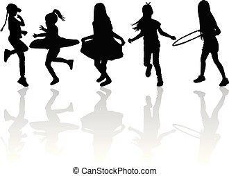enfants, blanc, silhouette, vecteur, arrière-plan.