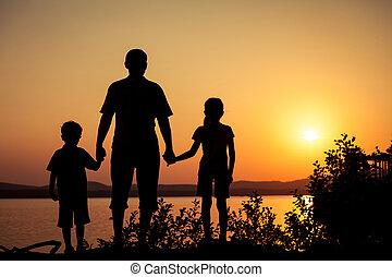 enfants, côte, père, lac, jouer