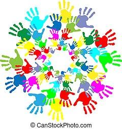 enfants, caractères, coloré, main