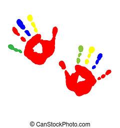 enfants, caractères, mains, peinture