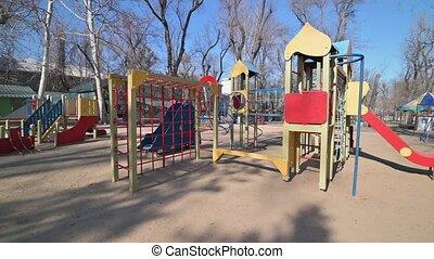enfants, carrée, cour de récréation, urgence, parc, menace, virus, vide, raison, centre, pendant, covid-19, moldavie, cathédrale, état, chisinau