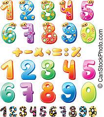 enfants, coloré, nombres