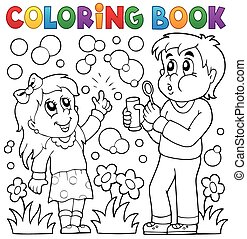 enfants, coloration, bulle, livre, kit
