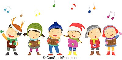 enfants, costumes, chœur, noël
