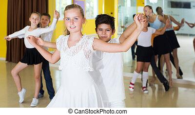 enfants, danse, danse, paire