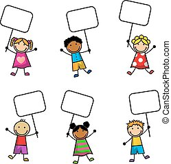 enfants, dessin animé, signes