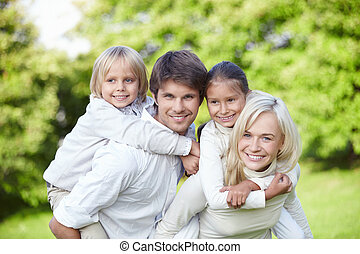 enfants, familles, jeune, dehors
