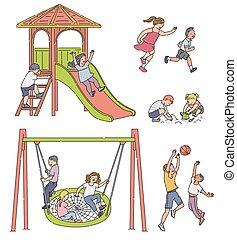 enfants, -, filles, dessin animé, isolé, ensemble, garçons, jouer, cour de récréation