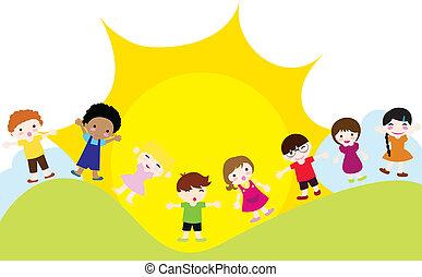 enfants, fond, heureux