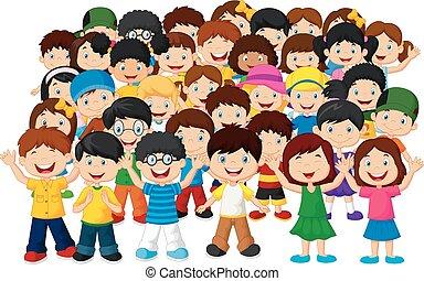 enfants, foule, dessin animé