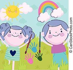 enfants, girl, handprint, dessin animé, pinceau, mignon, couleur, garçon