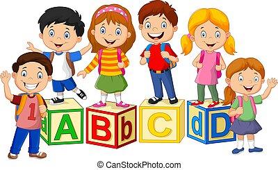 enfants, heureux, école, blocs, alphabet