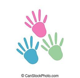enfants, icône, plat, handprints, couleur dessin, dessin animé, style