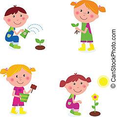 enfants, jardinage, collection