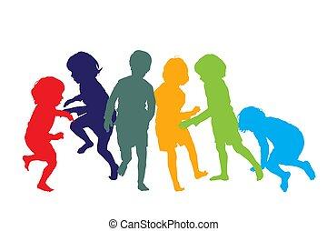 enfants jouer, 1, silhouettes