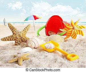 enfants, jouets plage