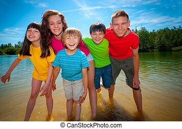 enfants, lac