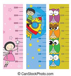 enfants, mètre, hauteur