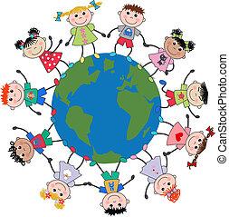 enfants, mélangé ethnique