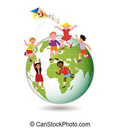 enfants, mondiale, autour de